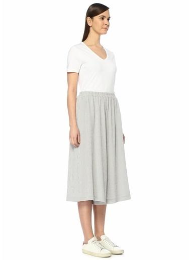 Beymen Collection Yüksek Bel Kareli Bol Paça Crop Pantolon Gri